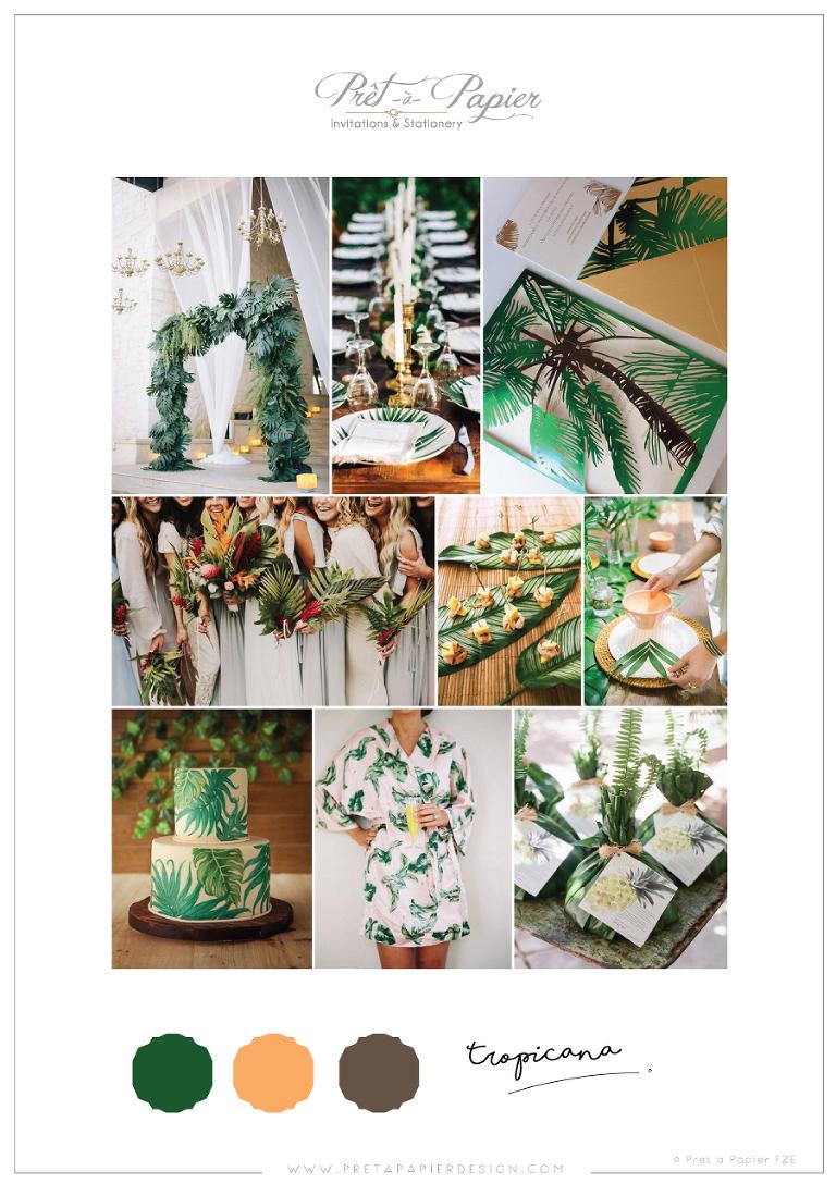 9dd3bd9e4027 Moodboard – Tropicana {Parrot green + Mango + Espresso}. 15.5.2017.  Tropical wedding inspiration